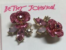 """Betsey Johnson Sparkles Crystal Rose Flower Gold Plated Earrings 1"""" Macy's BJ8"""