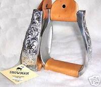 SHOWMAN Poli Aluminium argent Western Horse Show Selle étriers avec Conchos