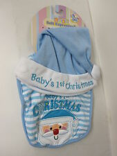 BABY'S FIRST CHRISTMAS BIB & SANTA HAT BLUE FOR BABY BOY NEW