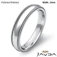 Solid Men Wedding Ring Dome Milgrain Plain Band 5mm 18k Gold White 8.1g 11-11.75