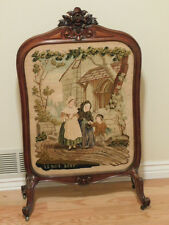 antique carved wood Fireplace Screen with masterful Needlepoint Centerpiece