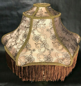 New Mocha Brown Victorian Fringed Poly Blend Fabric Lamp Shade, Wild Rose Design