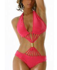 HoT ♥ Sexy Miss Gogo Strip Monokini Bikini Body Top Bikini  XS/S NEU pink gold