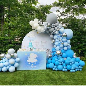 Foil Moon Chrome Blue Balloon Arch Kit Garland Birthday Wedding Party DIY Decor