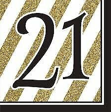 Creative Converting Black and Gold 21st Birthday Napkins Set of 16