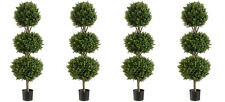 """4 Artificial 56"""" Boxwood 3 Ball Topiary Tree W Pot In Outdoor Plant Patio Fake"""