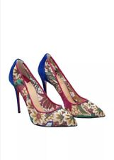 38f40fba314 NIB Christian Louboutin Follies Lace 100mm Butterfly Floral Blue Mesh Pump  39.5