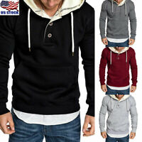 Men's Winter Hoodie Hooded Sweatshirts Sport Sweater Pullover Jackets Outwear US