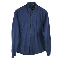 Lucky Brand Mens Overdyed Button Down Work Shirt Size L Blue Cotton Long Sleeve