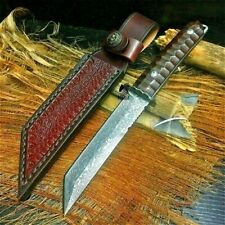 Tanto Knife Mini Samurai Hunting Tactical Combat Forged Damascus Steel Scabbard