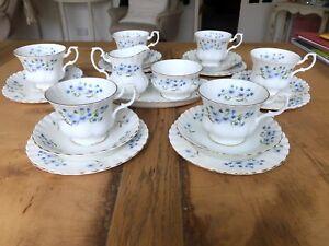 "Richmond ""Blue Rock"" Tea Set Trios For 6 Small Oval Cake Plate Creamer Milk Jug"