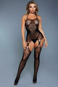 sexy BE WICKED halter SHEER floral LACE open suspender BODYSTOCKING stockings