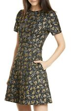 Ted Baker Divwine Floral Jacquard Fit & Flare Black Dress Size TB 4 US 8 NWT