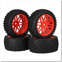 4x RC 1:10 Off Road Car Plastic 16 Spoke Red Wheel Rims+H Type Rubber Tyres