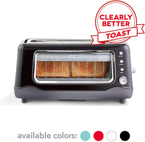 Dash Clear View Toaster: Extra Wide Slot Toaster with Stainless Steel Accent New