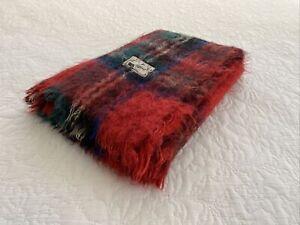Vintage Régine Mohair Red Tartan Check Fringe Afghan Throw 190 cm x 120 cm