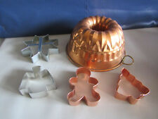 Lot of 4 Cookie Cutters Star Gingerbread Man Angel Tree & 1 Medwin Copper Mold