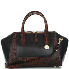 ❤️BRAHMIN MORGAN SATCHEL BLACK TUSCAN BROWN W/ CROC LEATHER DOCTOR BAG ~ FAYE ❤️