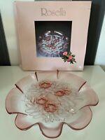 Mikasa Rosella Flower Round Server Platter Zierteller Glass Ruffled Edge Boxed