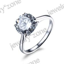 Zirconia Wedding Ring Sterling Silver Engagement Wedding 9mm Round 4.95ct Cubic