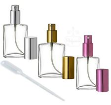 GLASS ATOMIZER PERFUME SPRAY BOTTLE EMPTY REFILLABLE  FLAT SHAPE 1 OZ. / 2 OZ.