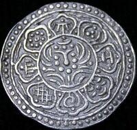 1899-1907  Tibet  Gaden Tanga Silver Pre-Chinese Era Silver Coin Re6f-51-349