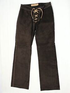 VTG Suede Leather Hippie Boho Pants 6 Lace Up Fly Brown Tan Custom Made