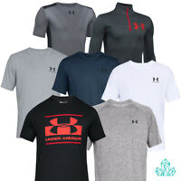 Under Armour T-shirt Junior Youth Mens Short Sleeve Top Grey Black Navy White