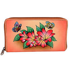 ZINT Hand Painted Genuine Leather Women's Wallet Floral Zip Around Multi-Color