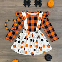 Toddler Kids Baby Girl Halloween Dress Clothes Tops Shirt Skirt Outfits 2Pcs Set