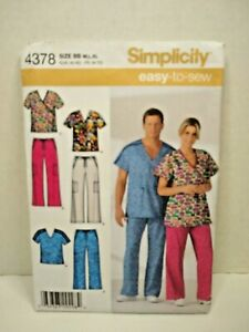 Simplicity 4378 Scrubs Unisex  Sewing Pattern   New Size M-L-XL