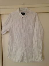 Article No. 1 Men's White Button Front Shirt Polkadot Pattern Size XL Good Condt