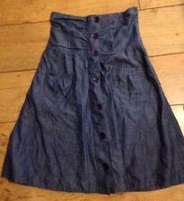 Cotton Patternless High Waist Skirts for Women