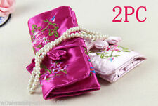 2pcs Pink &Rose SILK JEWELRY TRAVEL BAG Roll Case Pouch Carrying Brocade Fabric