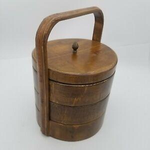 Wood Round Stacking Bento Tiffin Storage Box Chinese Wedding Style Picnic Basket