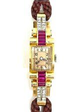 Magnifique montre ancienne en or jaune 18 carats diamants et rubis
