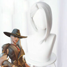 Overwatch Ashe Cosplay Wig 30cm Short Straight OW Game Wig Silver-White Hair