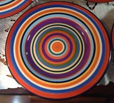 (1) Living Art Casablanca Handpainted Dinner Plate Multi-color Stripes  VGC!