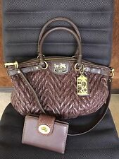 COACH Madison Quilted Chevron Sophia Shoulder bag And Coach Wallet Dark Brown
