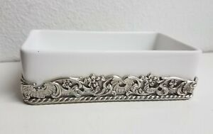 """Soap Dish White Porcelain Floral Silver Trim Simply Shabby Chic 2009 3 x 5.25"""""""