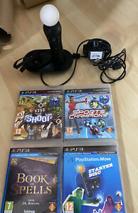 Sony PS3 PS4 VR Move Motion Wireless Controller Wand Camera, Charger & Games