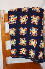 Granny Square Afghan or Single Bedspread 50 x 72 inches Hand Crocheted Wool