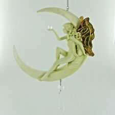 Fairy Dream Catcher LARGE Hanging Crystal Moon Face Lady Suncatcher Glass 01513
