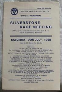 SILVERSTONE 20 Jul 1968 Vintage Sports Car Club Race Meeting Official Programme