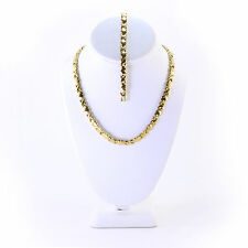 "Womens Hugs and Kisses Necklace Bracelet Set Stampato Gold Plated 20"" XO"