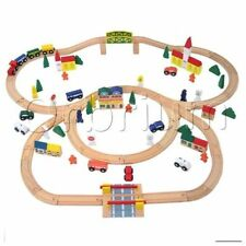 Wooden Train Set 100-Piece Orbrium Toys Triple-Loop Fits Thomas Brio Chuggington