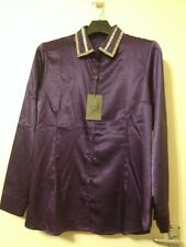 NEW Open End Hamburg Germany Purple Size 16 (EU 42) Blouse Top Diamante Collar