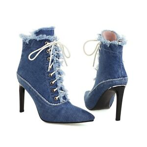 Women's Fahsion Pointed Toe Frayed Lace Up Stiletto Denim Ankle Boots Shoes CCGK