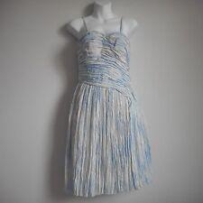 NWT THAKOON Nylon Silk Blue White Spaghetti Strep Women's Dress Size 4