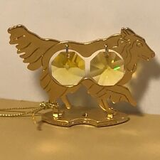 Crystal Delight Mascot Austria 24K Gold Plated Dog Figurine Animal Collie Chow 2